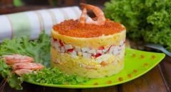 Салат слоями - креветки, икра, яйца, картошка, крабовые палочки