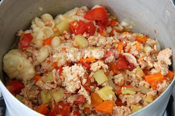 Рецепт макарон по-флотски с фаршем и овощами