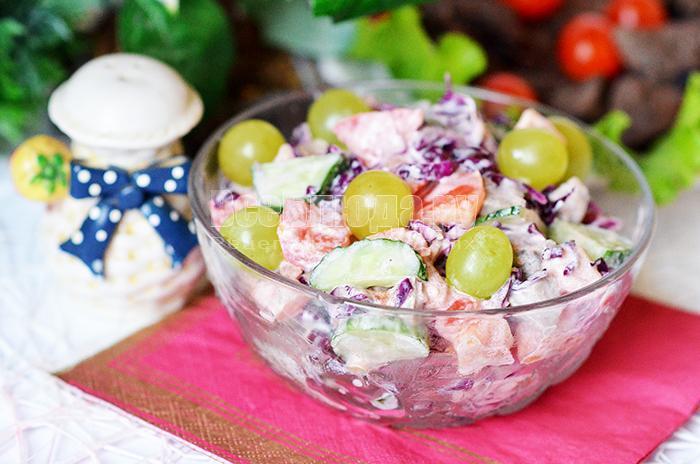 рецепт салата из печени с капустой