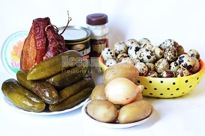 необходимые ингредиенты для рецепта салата Оливье: