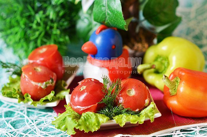 рецепт начиненные помидоров сыром и зеленью