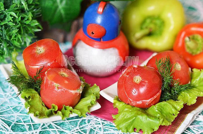 фаршированные помидоры сыром и зеленью