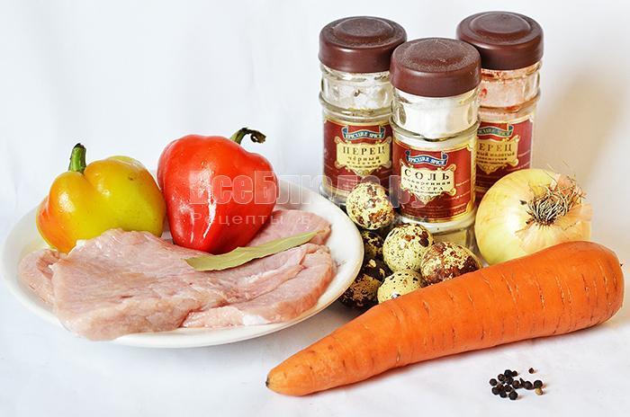 необходимые ингредиенты для свиного рулета с морковкой: