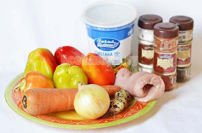 необходимые ингредиенты для запеченого перца: