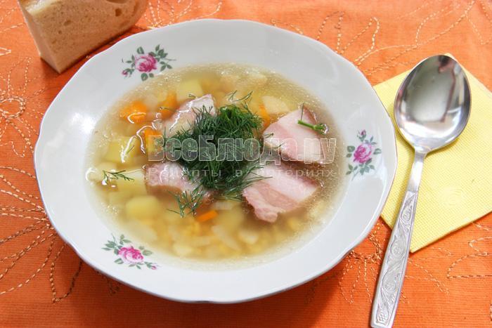 рецепт гороховго супа с копченостями