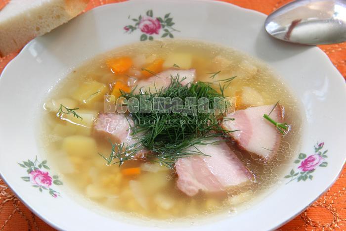 гороховый суп из копченой свинины