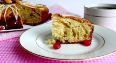 Пирог с клюквой, изюмом и белым шоколадом, рецепт на йогурте
