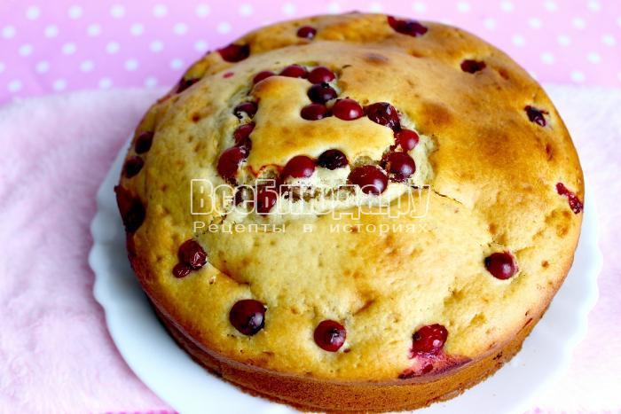 выпекать пирог с клюквой в духовке