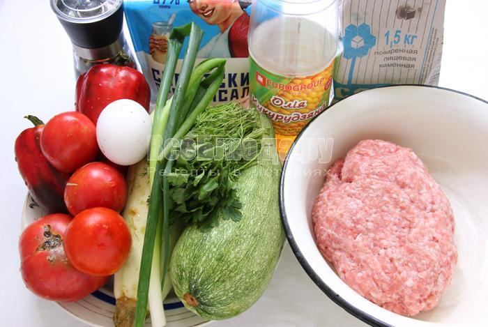 продукты для запеченных кабачков с фаршем