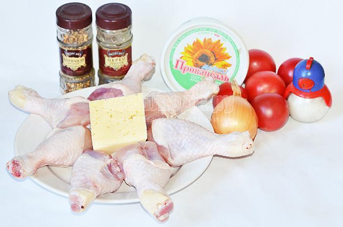 необходимые ингредиенты для фаршированной голени курицы: