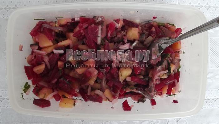 Салат с селедкой, картофелем и свеклой
