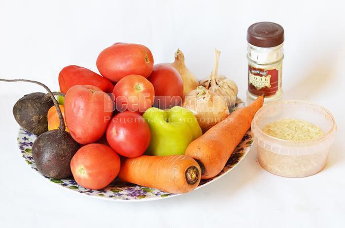 необходимые ингредиенты для горячего салата с рисом: