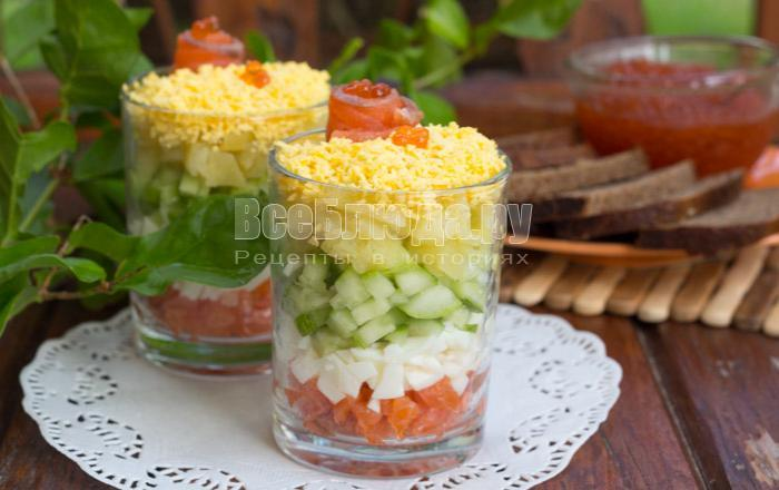 Порционный салат с пошаговым