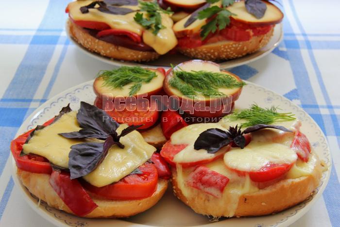 как приготовить овощные бутерброды с колбасой
