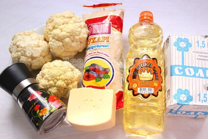 ингредиенты для рецепта цветной капусты с фото