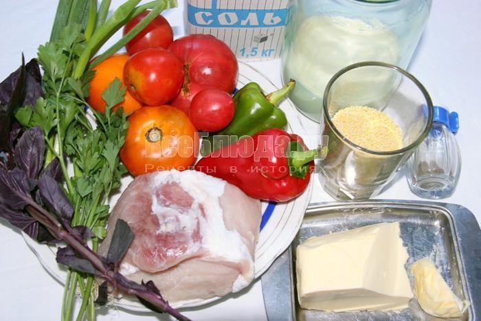 продукты для приготовления свинины в горшочках