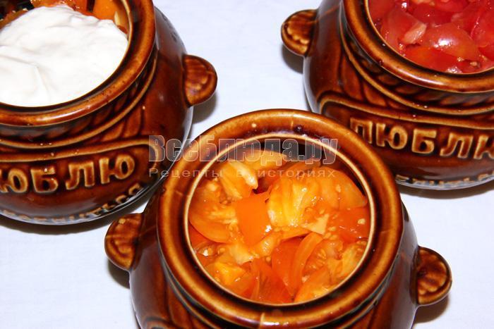Рецепт свинины в горшочках с пшеном и томатами
