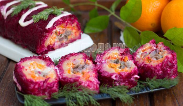 рецепты салатов селедка под шубой рулетом