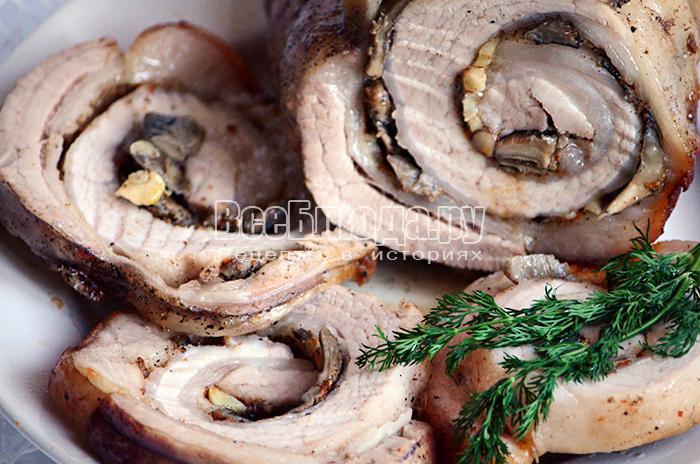 Рецепт рулета из свинины с грибами