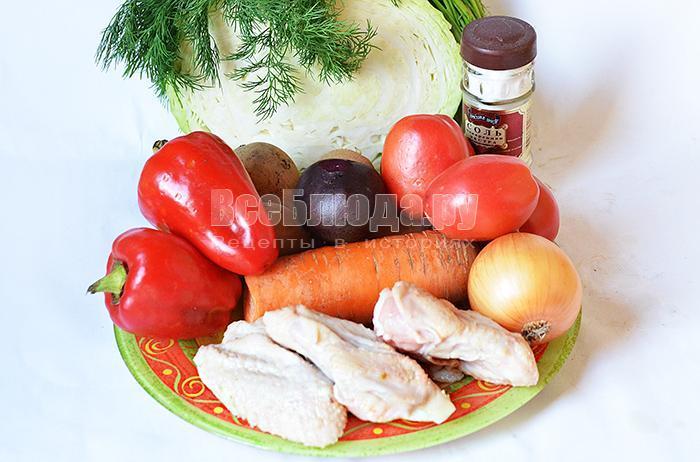 необходимые ингредиенты для борща на курином больоне: