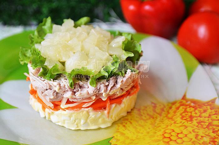 рецепт салата с корейской морковкой, свининой и яйцами