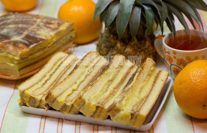 готовый торт с ананасовым кремом