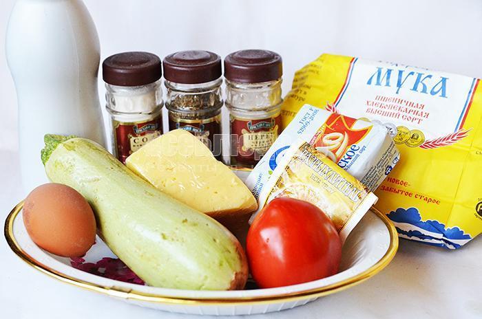 необходимые ингредиенты для рецепта маффинов с кабачками: