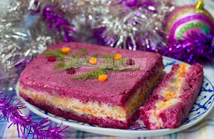 рецепт новогоднего салата сельдь под шубой