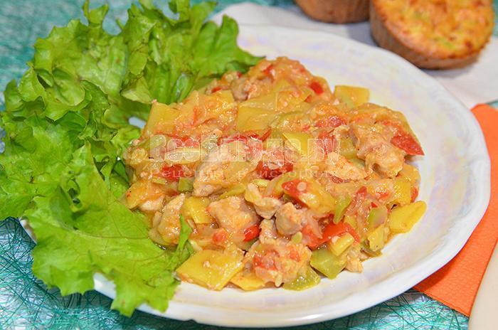 рагу с овощами и свининой