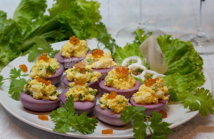 рецепт фаршированных яиц с икрой