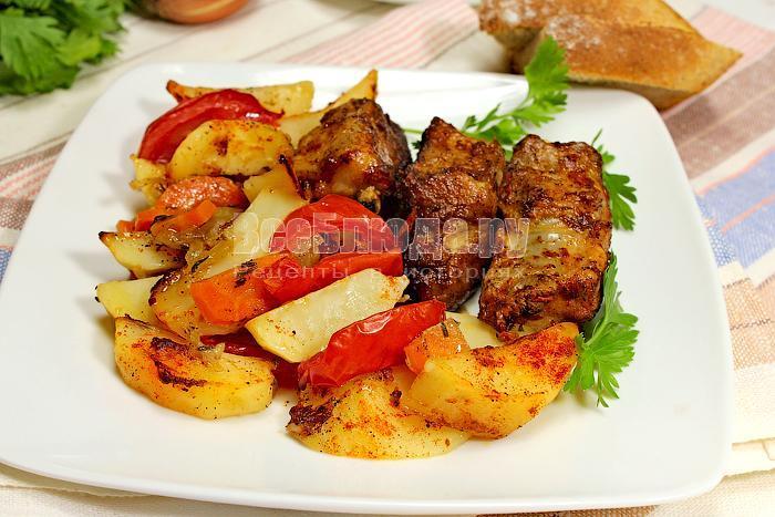 ребрышки в духовке с овощами рецепт