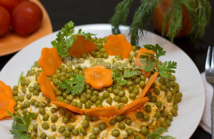 рецепт салата с тунцом и зеленым горошком