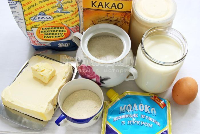 продукты для торта Птичье молоко