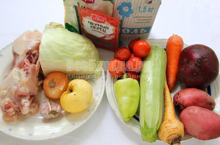 набор продуктов для борща с кабачками