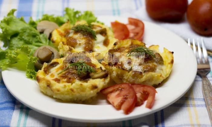 рецепт картофельных корзинок с грибами