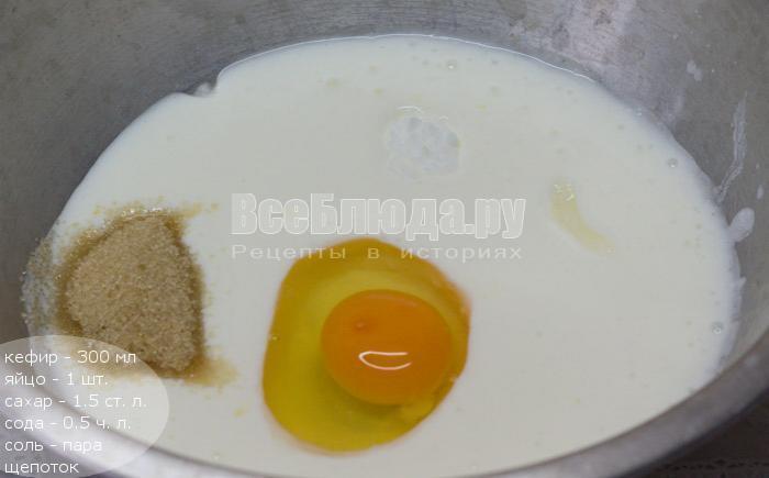 кефир, сахар, яйцо, сода