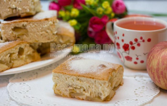 рецепт яблочного пирога из бисквитного теста