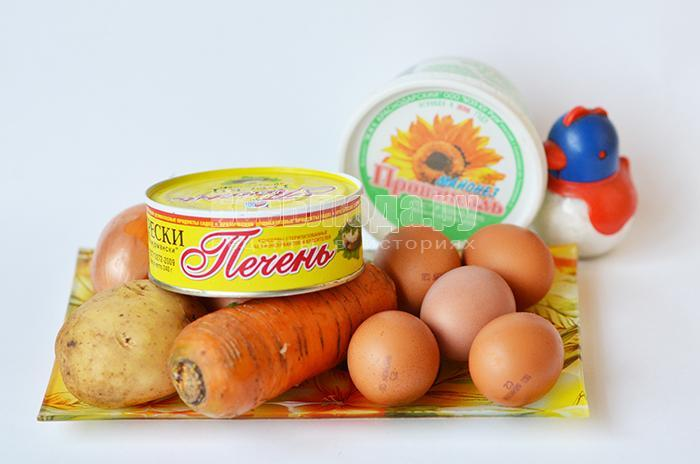 необходимые ингредиенты для новогоднего салата в форме Лошади: