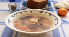 Простой гречневый суп с консервированными грибами...