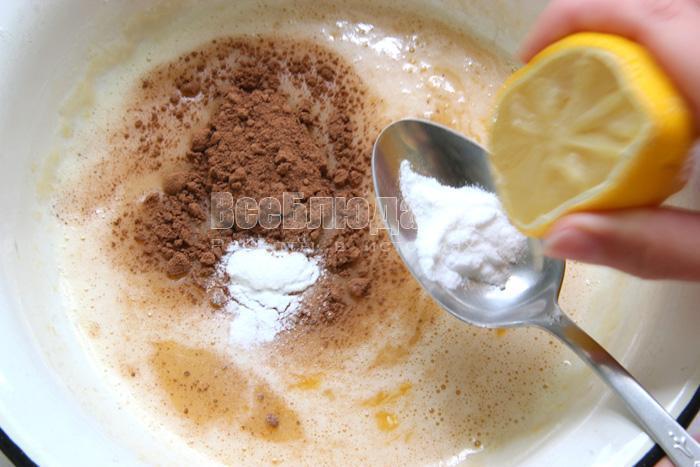 добавляю какао, ванилин, соду