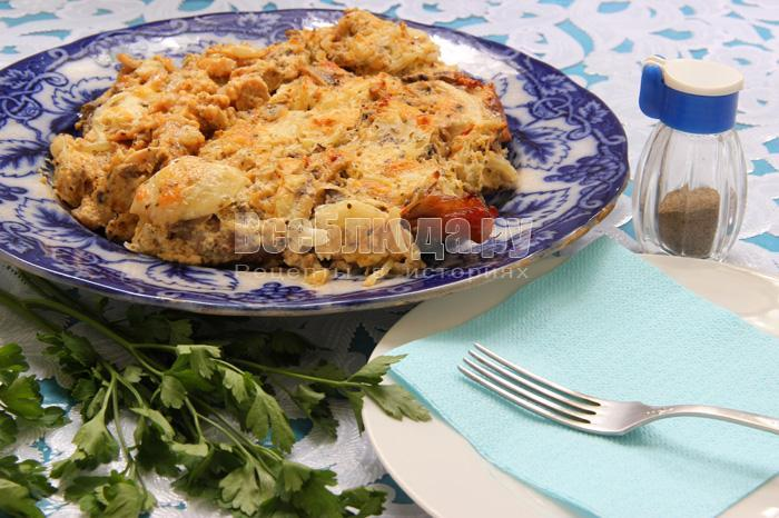 рецепт праздничной индейки с грибами и сыром