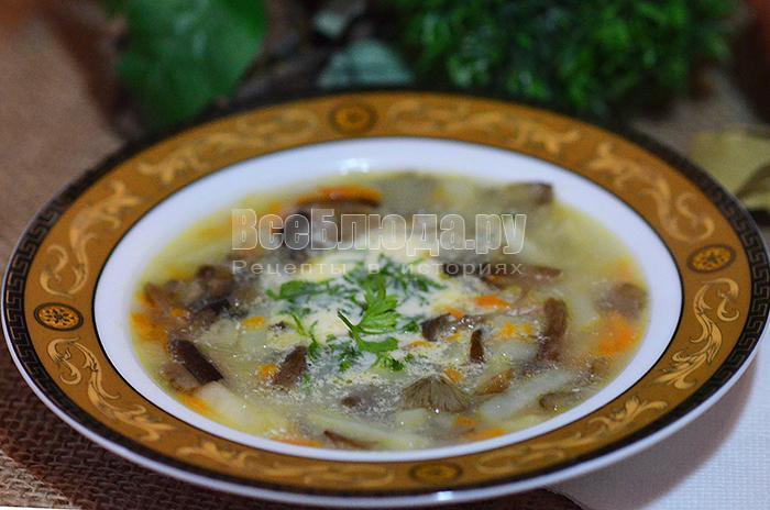 грибной суп с опятами со сметаной