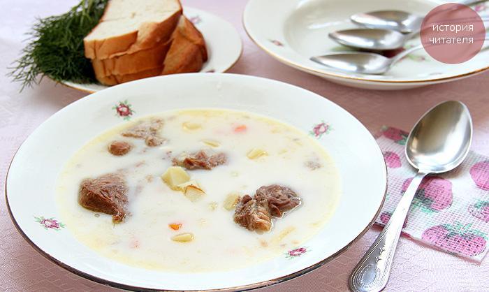 Сырный суп с тушенкой