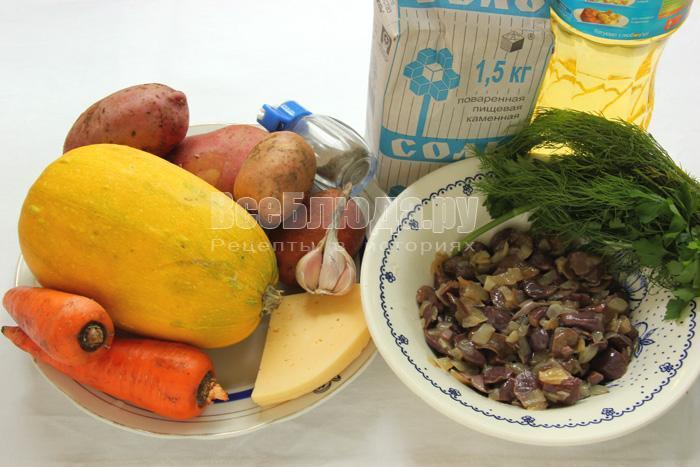 ингредиенты для овощного рагу с грибами