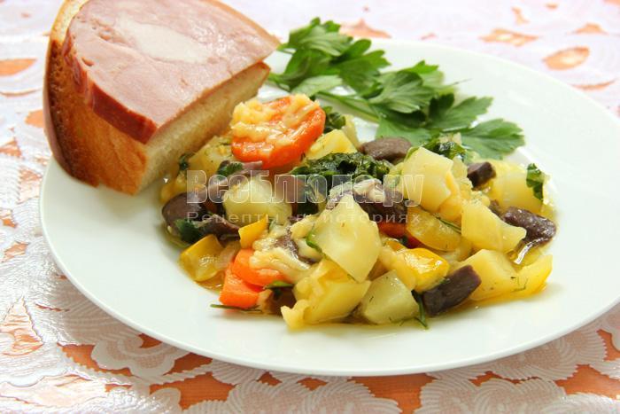 рецепт рагу из овощей с кабачками и грибами