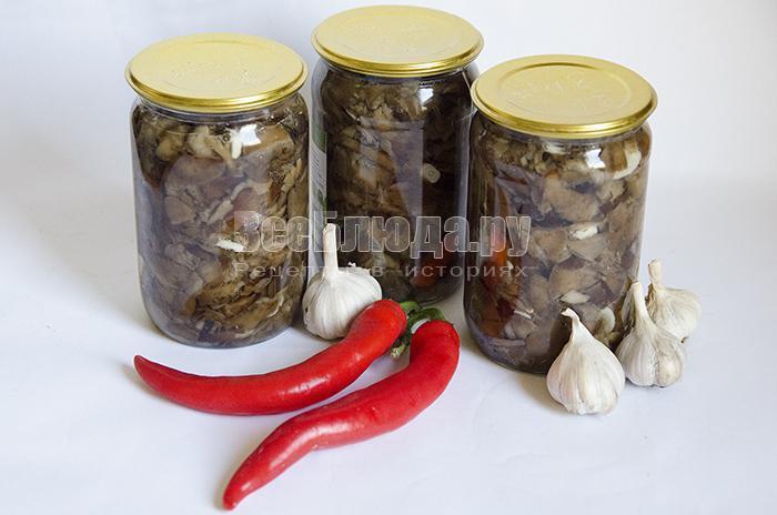 рецепт консервации опят с красным перцем на зиму