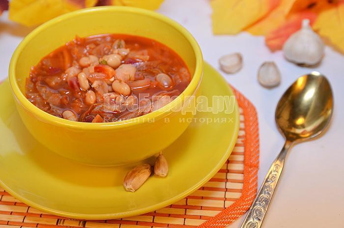 рецепт борща с консервированной фасолью