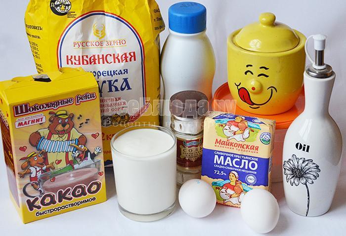 необходимые ингредиенты для кексов: