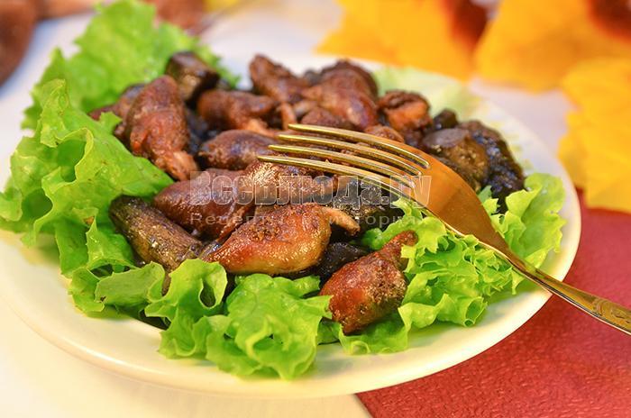 рецепт куриных сердечек жареных с грибами