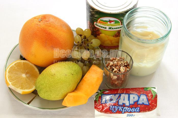 продукты для приготовления салата с фруктами